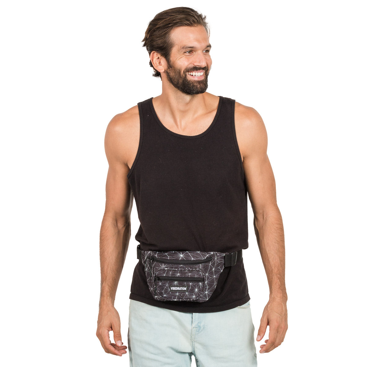 Male wearing black space multi pocket fanny pack