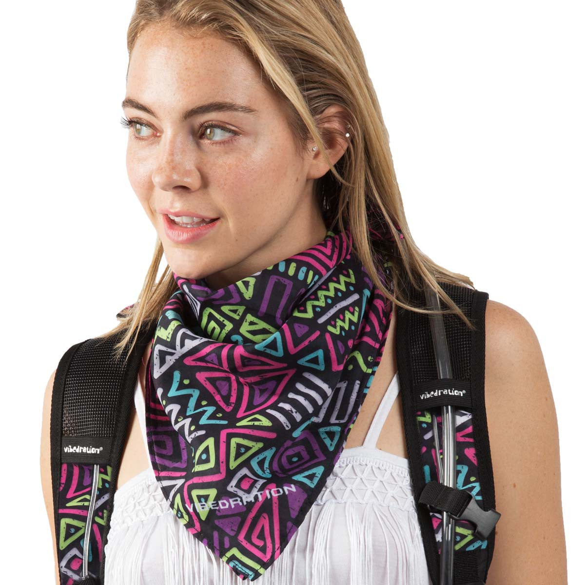 Young Female wearing Vibedration Green, purple, yellow and Blue geometric print square bandana