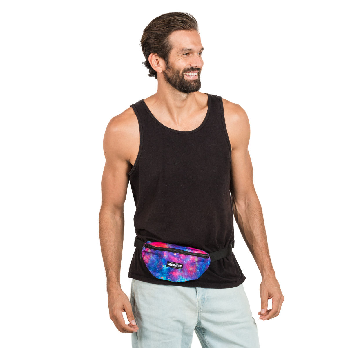 Male wearing Galaxy Fanny Pack for Festivals