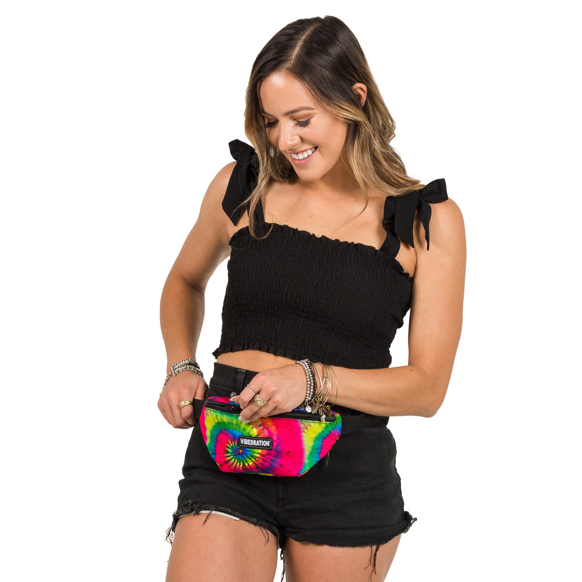Female wearing Tie-Dye Printed Fanny Pack