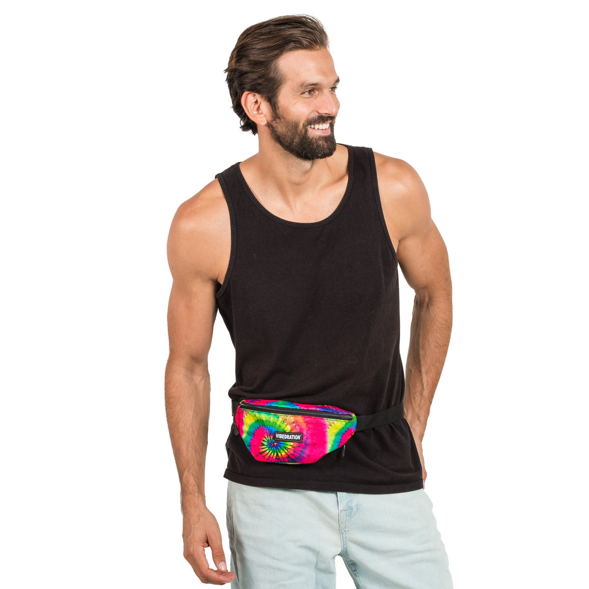 Male wearing Tie-Dye Printed Fanny Pack for Festivals