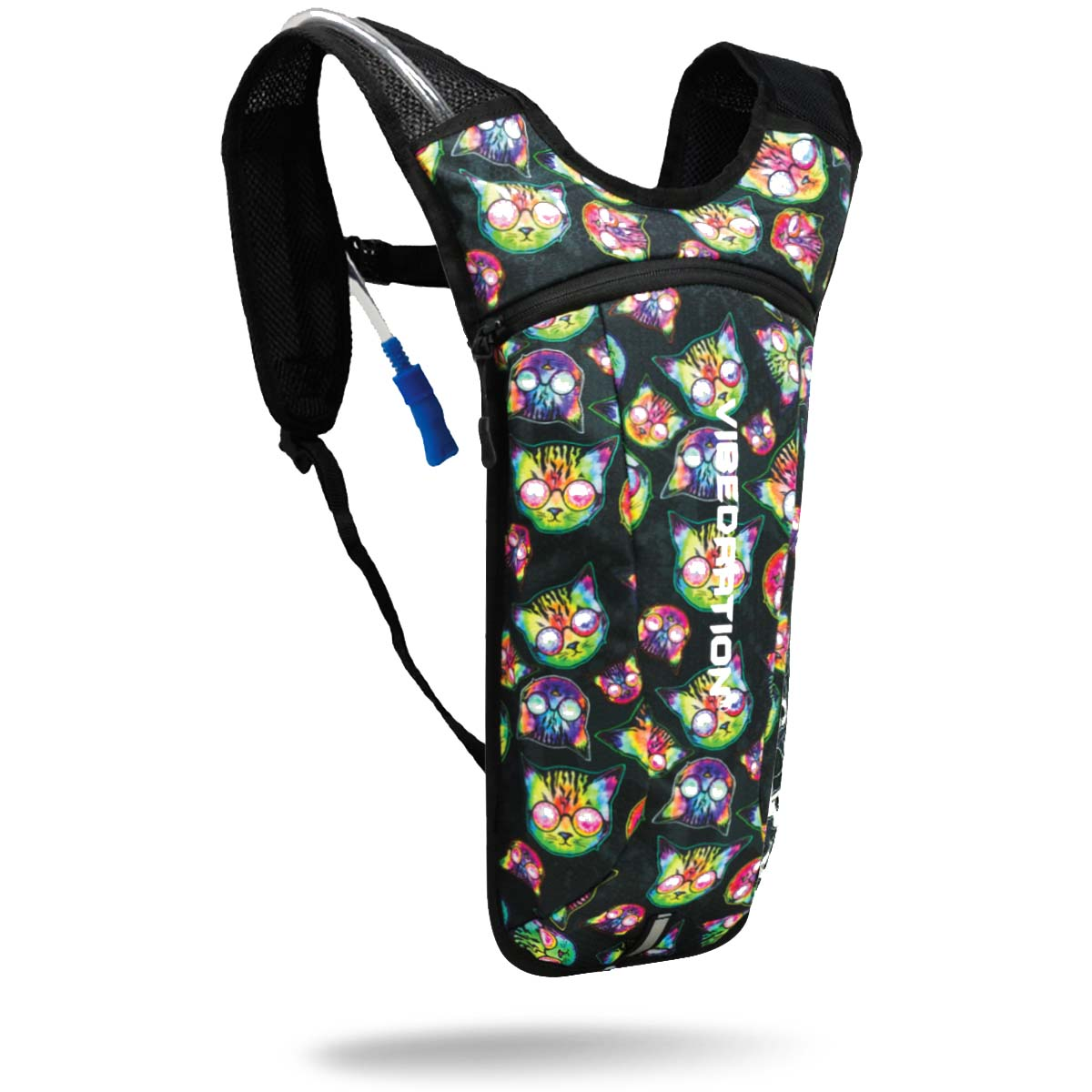 Kosmic Kitties 2 Liter Black Hydration Pack for Music Festivals and Raves