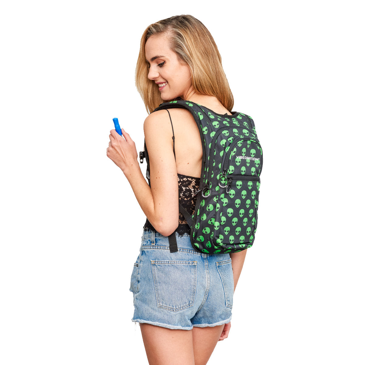 Back Shot of Women wearing Green Alien Printed VIP 2.0L Hydration Pack