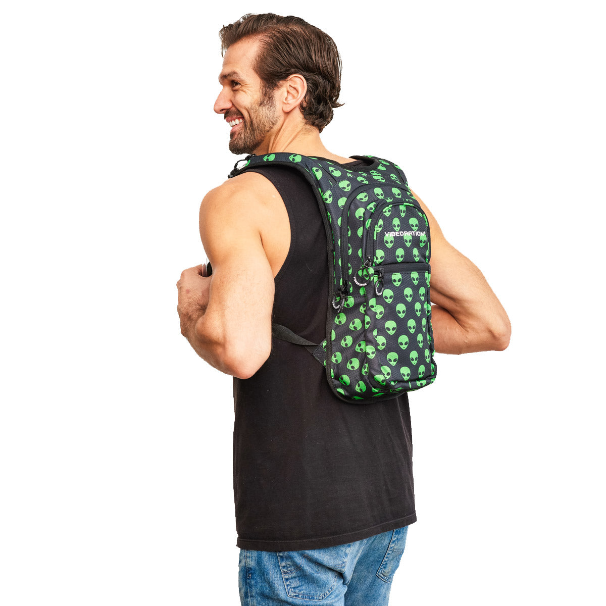 Side Shot of Male wearing Alien Printed VIP 2.0L Hydration Pack