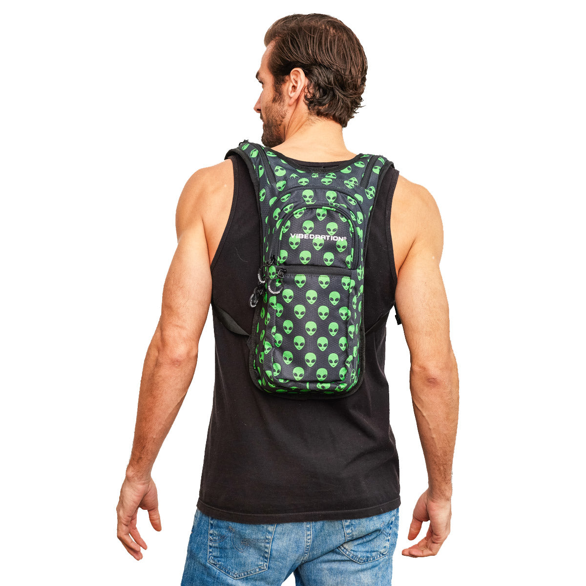 Back shot of Male wearing Green Alien Printed VIP Hydration Pack
