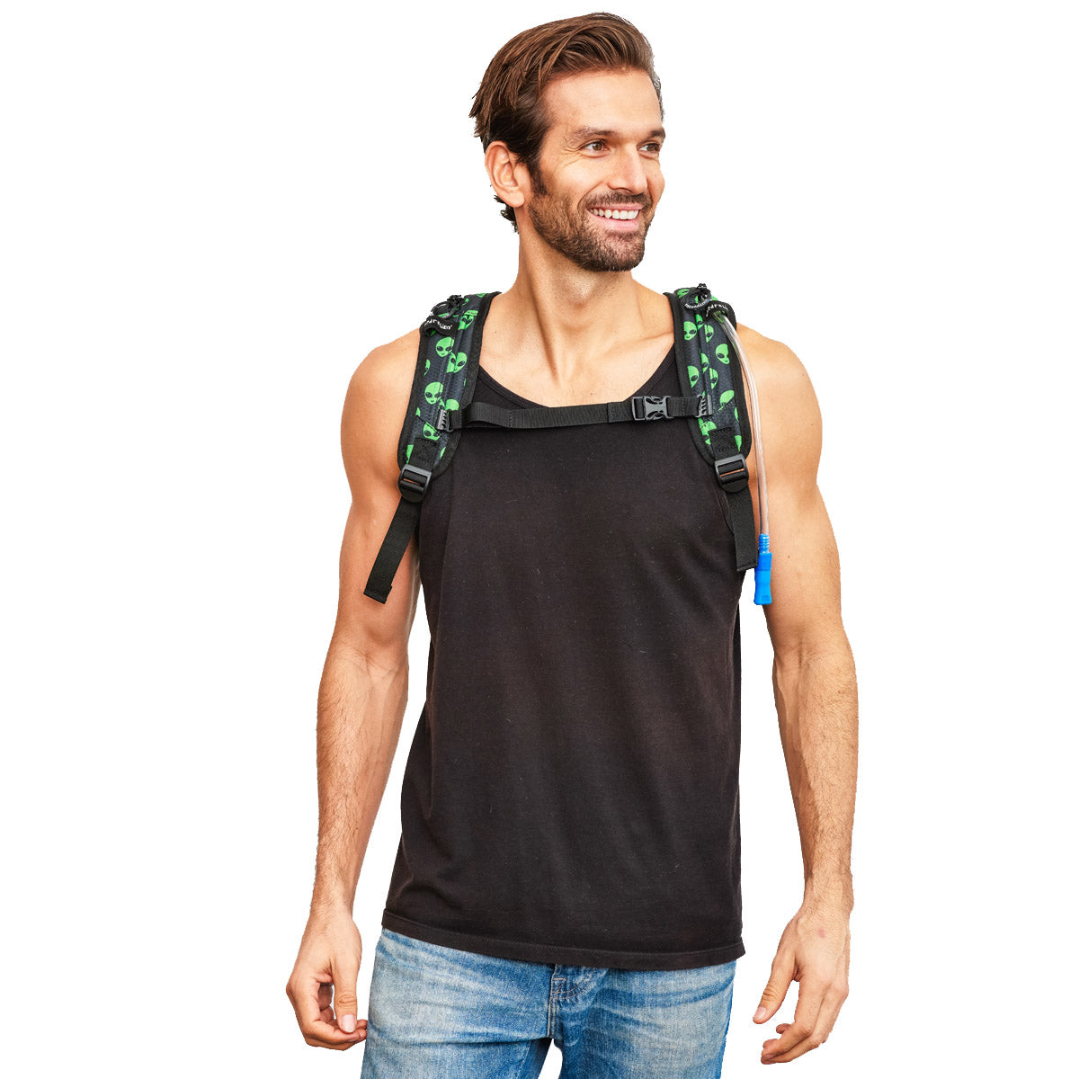 Front Shot of Male wearing Green Alien Printed EDC Hydration Pack