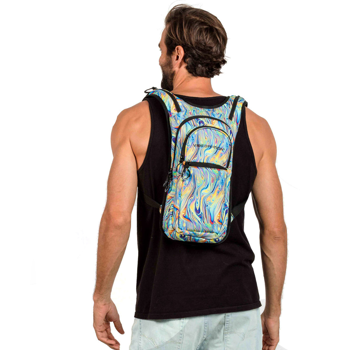 multi-color printed hydration pack with three pockets and 2 liter water reservoir