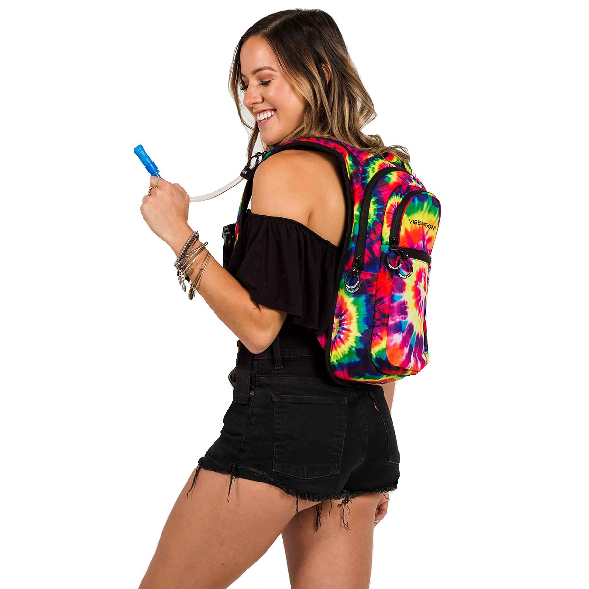 Tie dye backpack with water on female