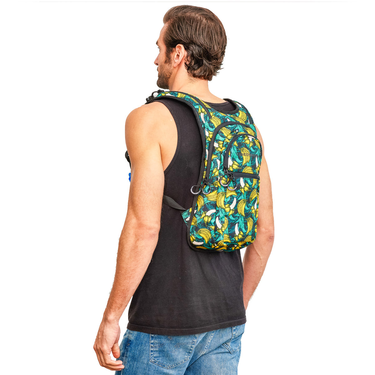 Side view of male wearing Green Tropical Banana Print Hydration Backpack