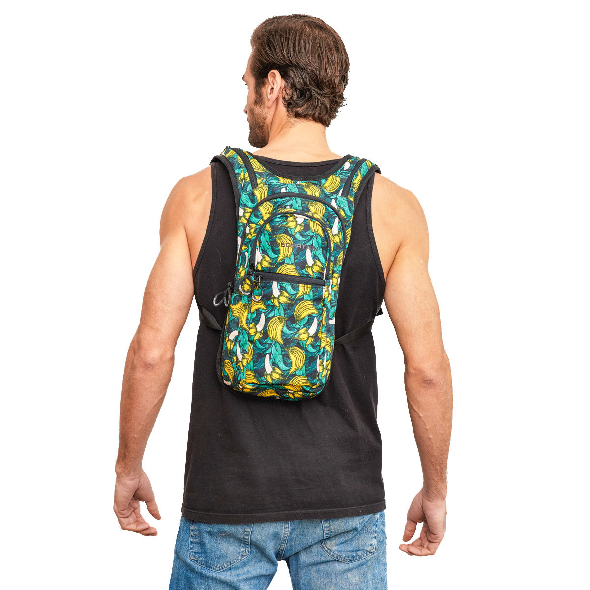 Male wearing green Tropical Banana Print Hydration Backpack