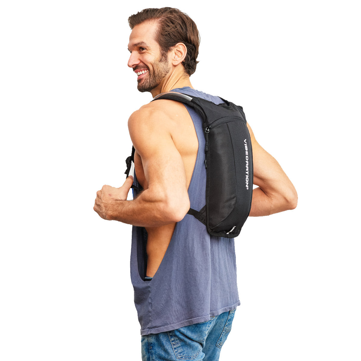 Side view of Male wearing single pocket black hydration pack