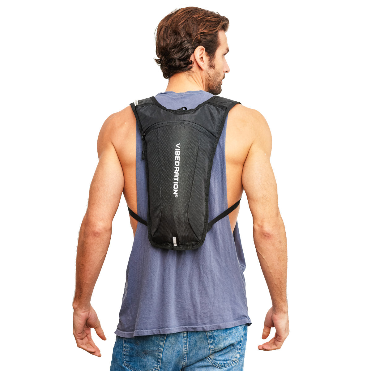 Male wearing single pocket black hydration pack