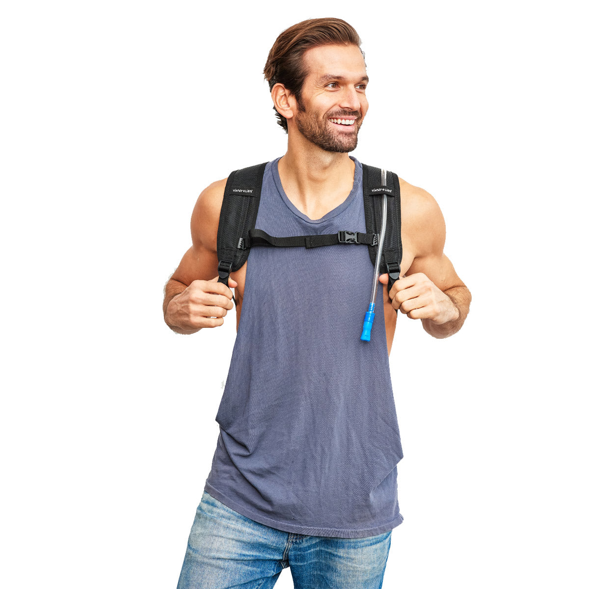 Front view of male wearing single pocket black hydration pack