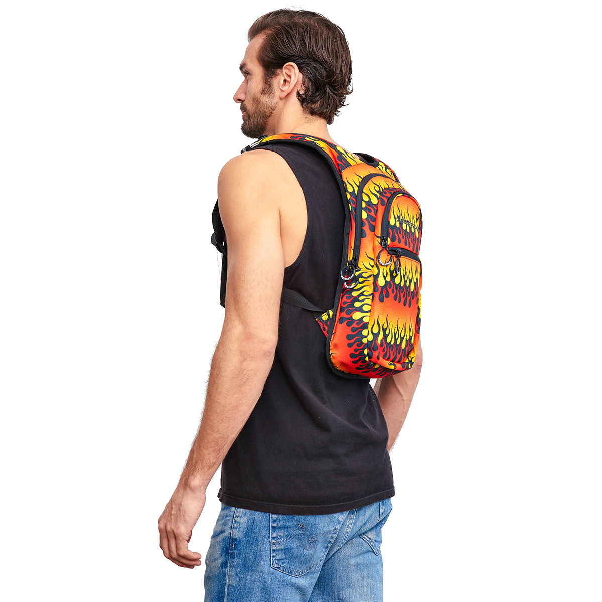 Male wearing Fire Printed VIP Hydration Pack - Side Shot