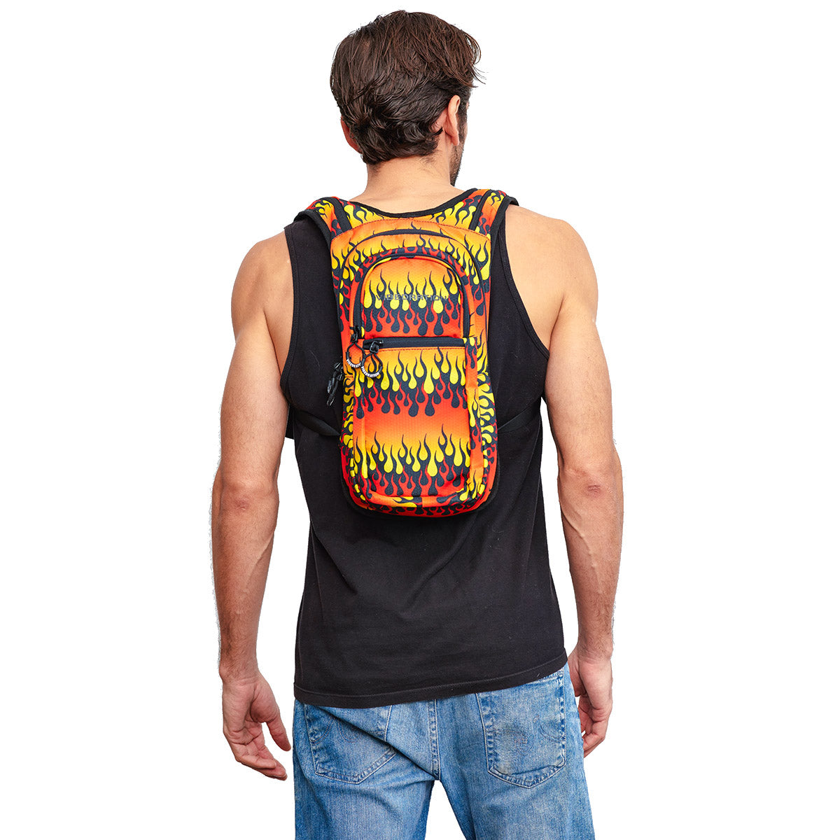 Male wearing Fire Printed VIP Hydration Pack - Back Shot