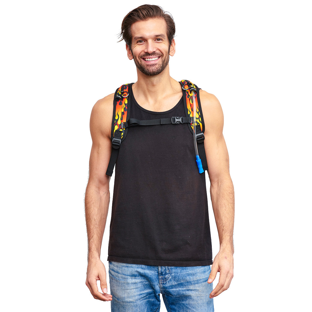 Male wearing Fire Printed VIP Hydration Pack - Front Shot