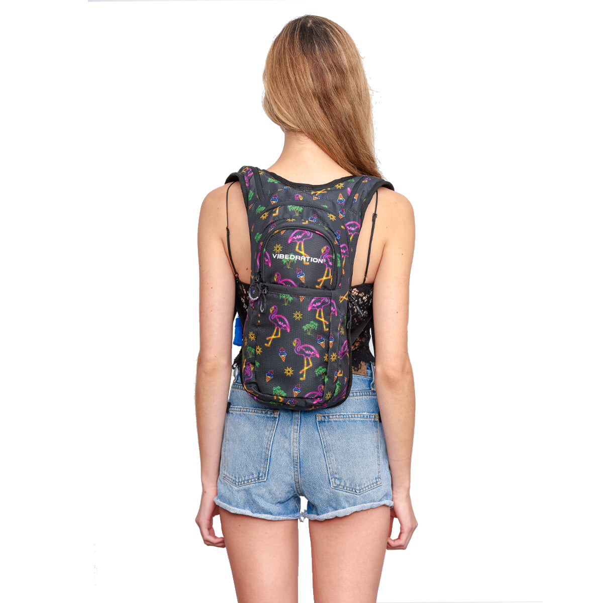 Woman wearing Neon Flamingo Printed VIP 2.0L EDC Hydration Pack - Back Shot