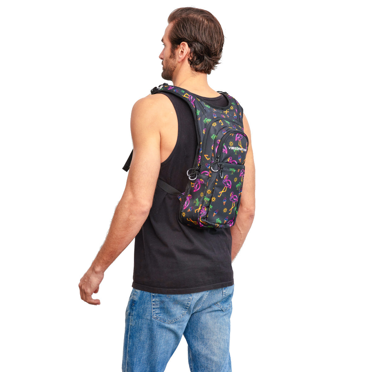 Male wearing Neon Flamingo Printed VIP 2.0L EDC Hydration Pack - Side Shot