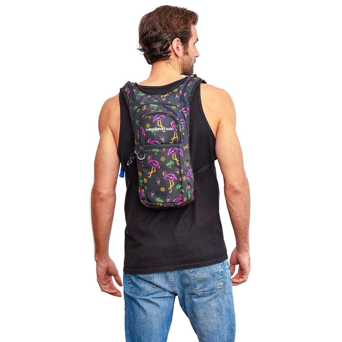 Male wearing Neon Flamingo Printed VIP 2.0L EDC Hydration Pack - Back Shot
