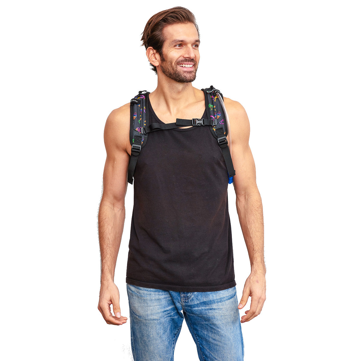 Male wearing Neon Flamingo Printed VIP 2.0L EDC Hydration Pack - Front Shot
