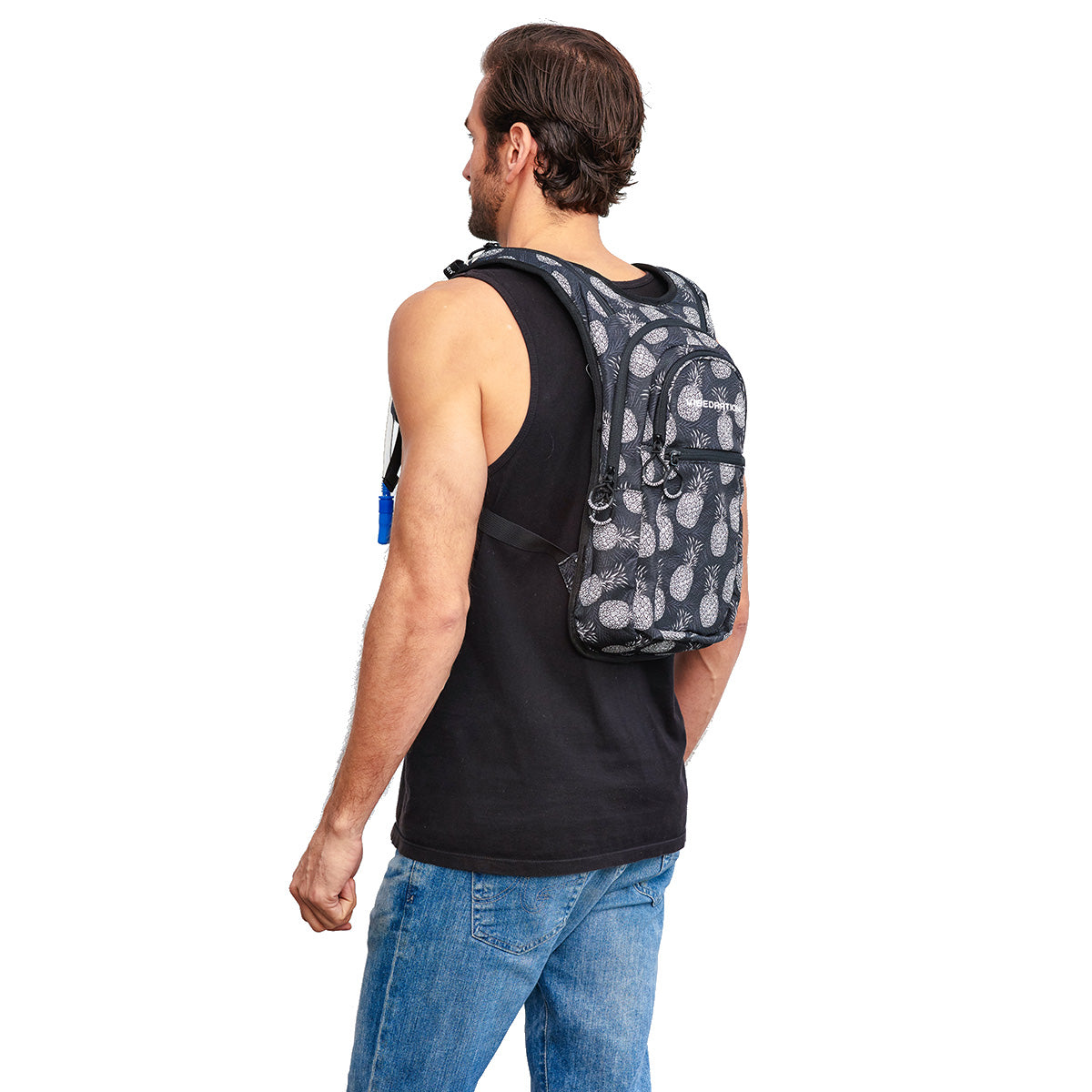 Side Shot of Male wearing Pineapple Printed Black VIP Festival Hydration Pack