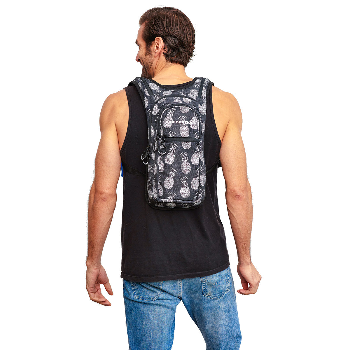 Back Shot of  Male wearing Pineapple Printed VIP Festival Hydration Pack