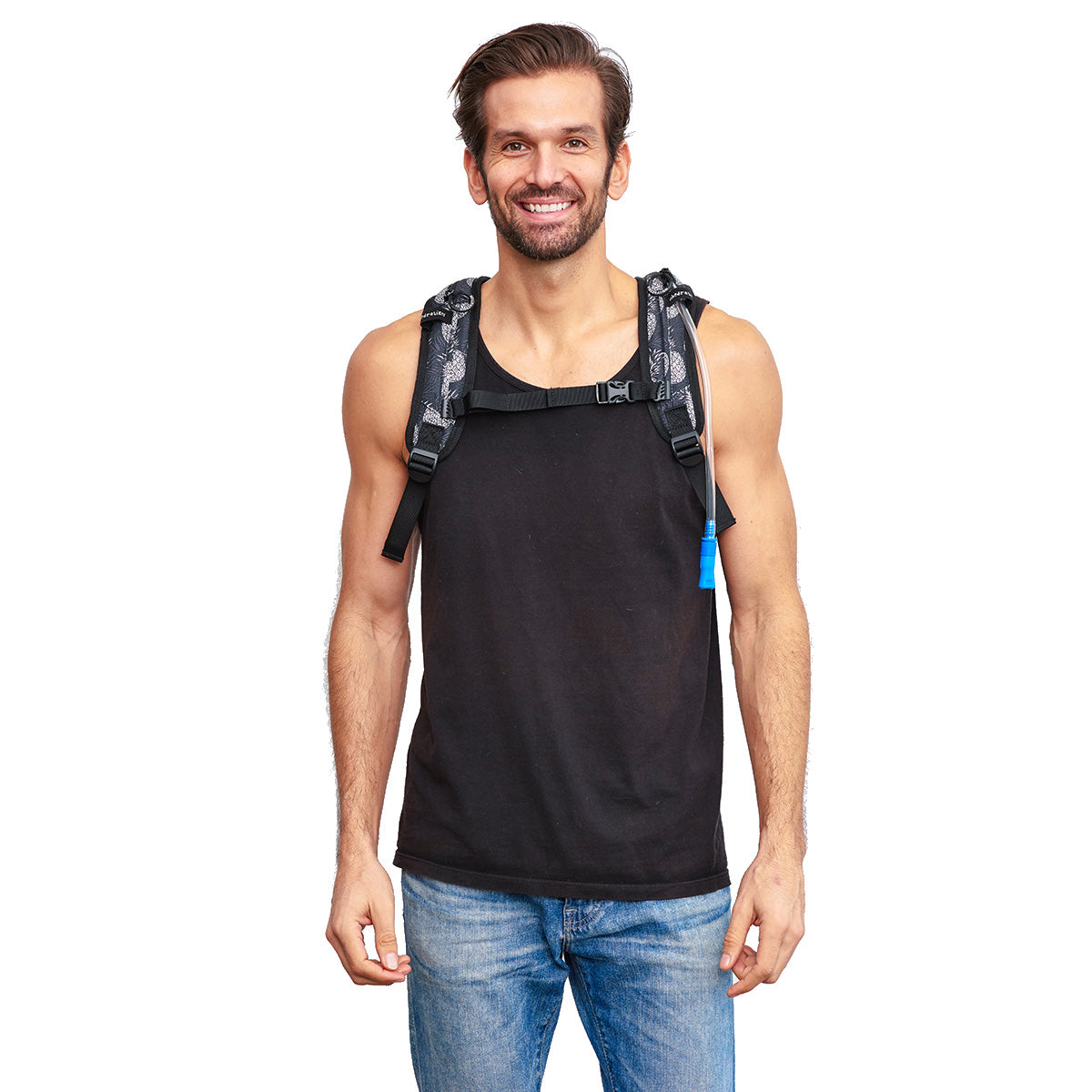 Front Shot of Male wearing Pineapple VIP Festival Hydration Pack