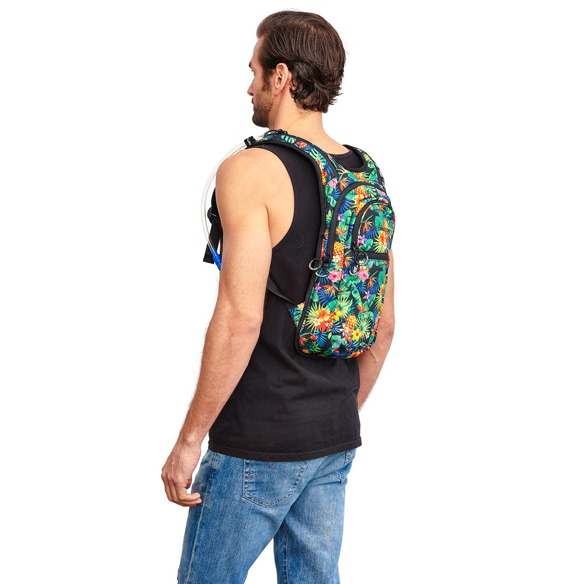 Side shot of Male wearing VIP 2.0L Tropical Fuzion Hydration Pack