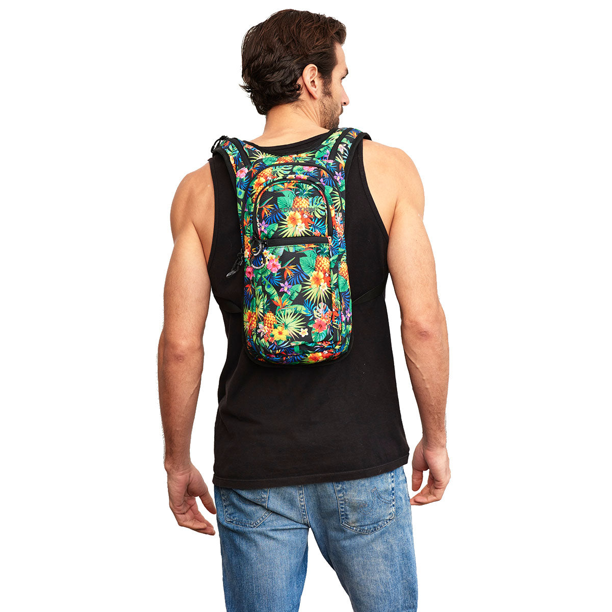 Back shot of Male wearing Tropical Printed Festival VIP Hydration Pack