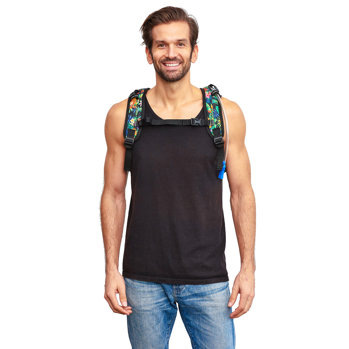 Front shot of Male wearing Tropical Fuzion Festival Hydration Pack