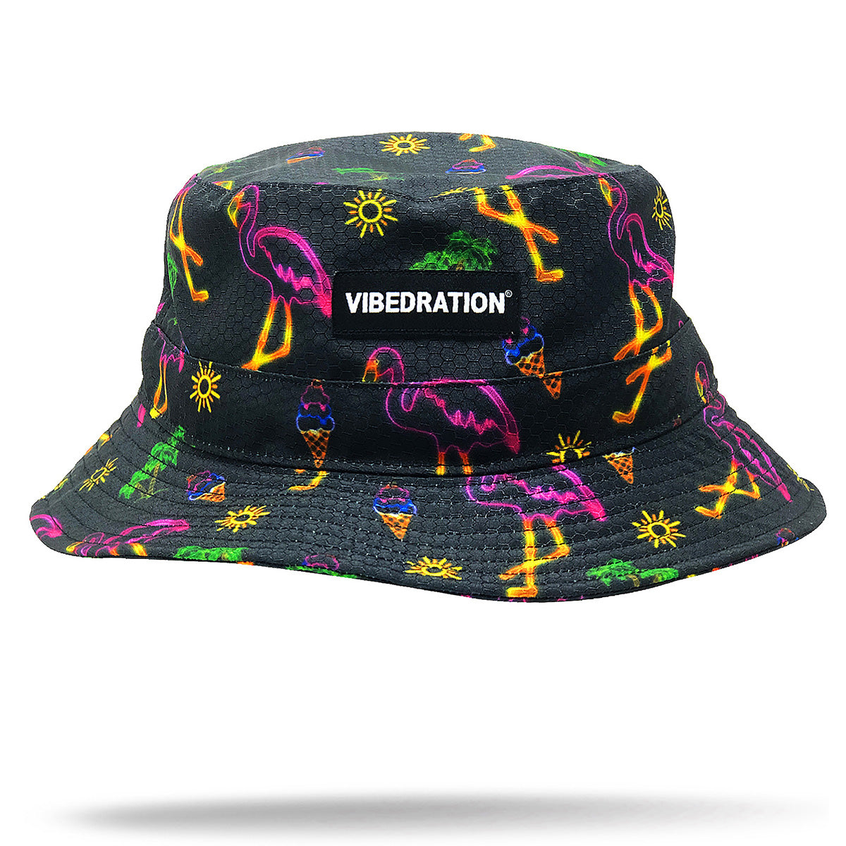 Black Rave Bucket Hat with Neon Flamingos