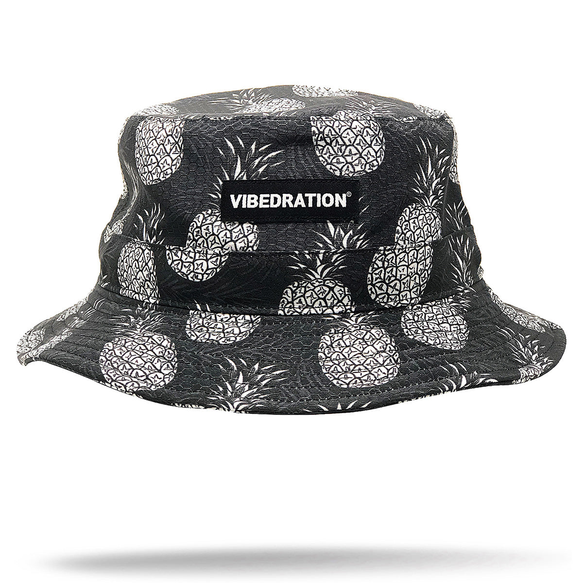 unisex black bucket hat with pineapples