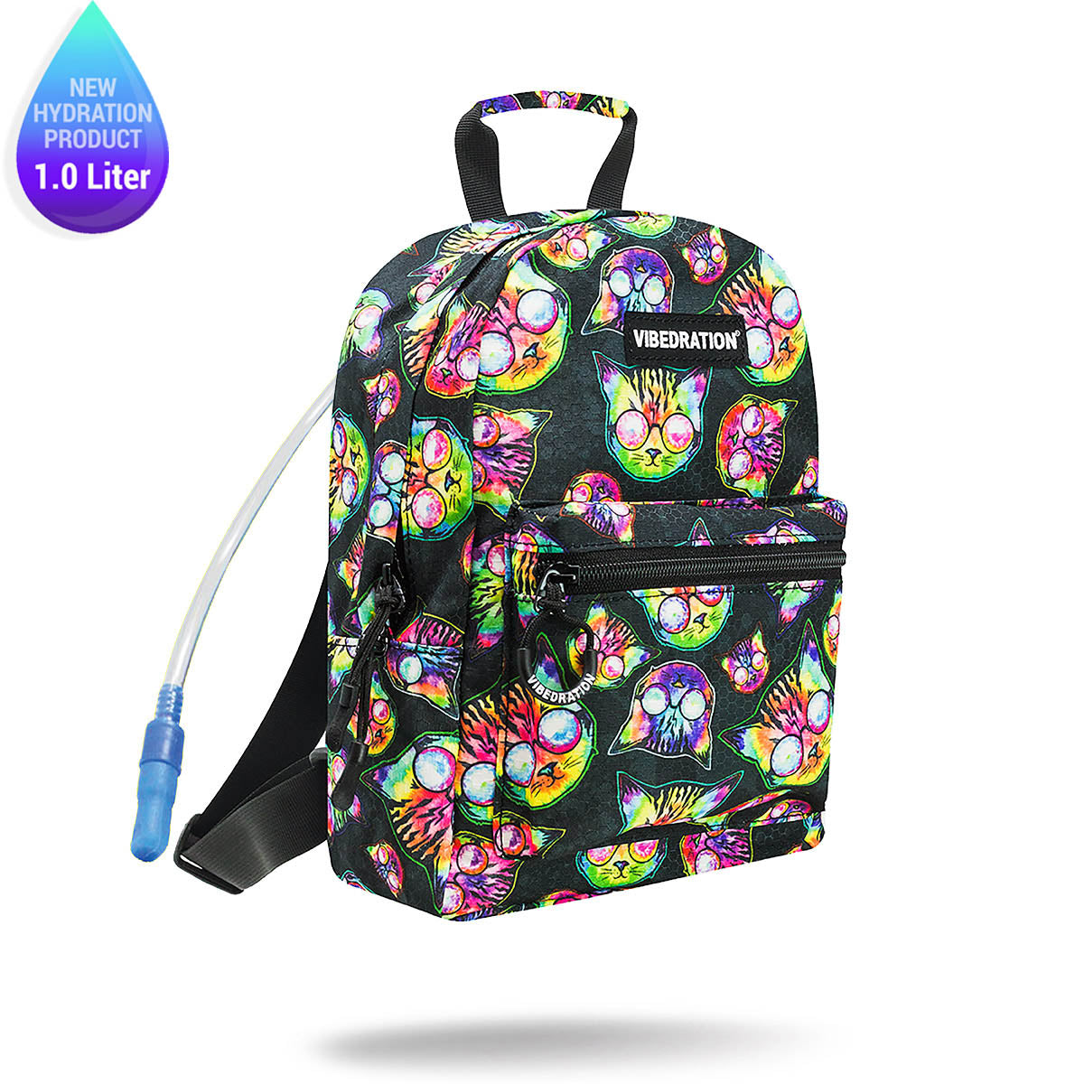 7106bf6633b Cat Printed Mini 1.0 Liter Backpack for Raves   Festivals  Meow ...