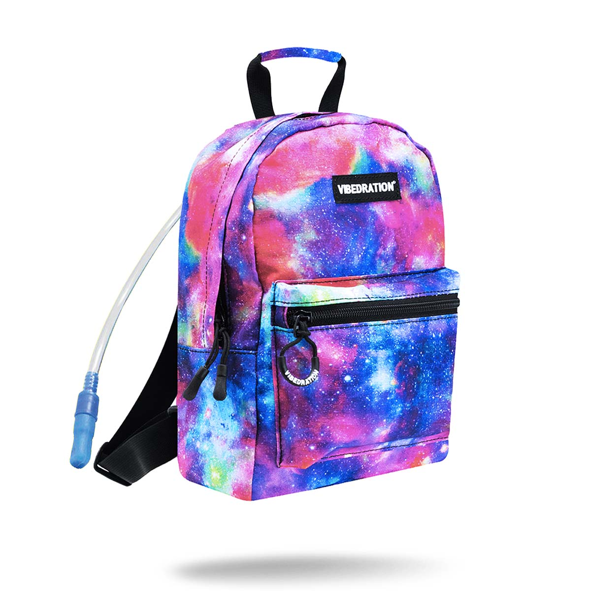 blue and purple space galaxy mini hydration backpack 1 liter hydration bladder