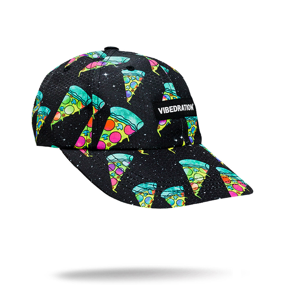 Black printed hat with green pizza