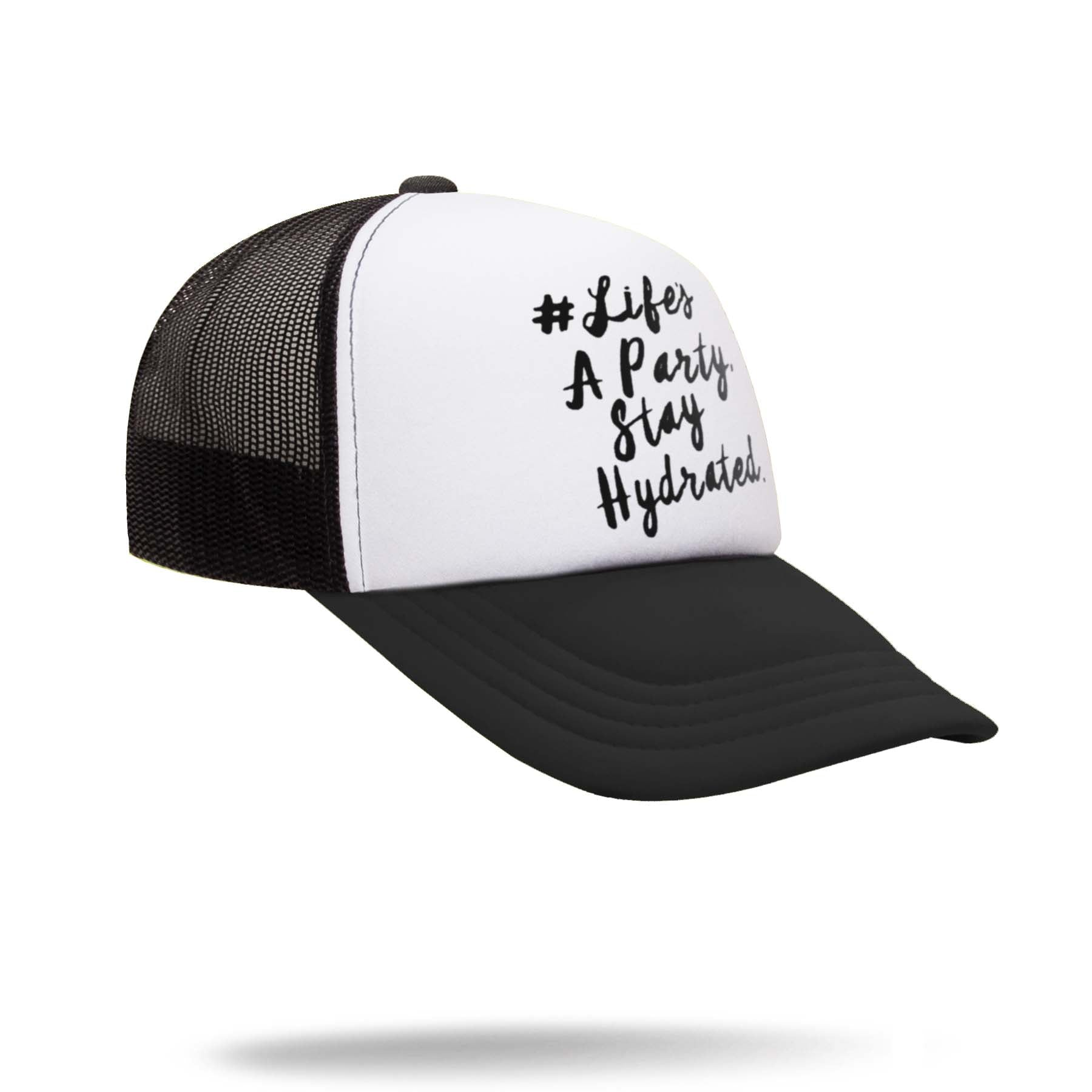 Black and White Adjustable Trucker Hat for music festivals