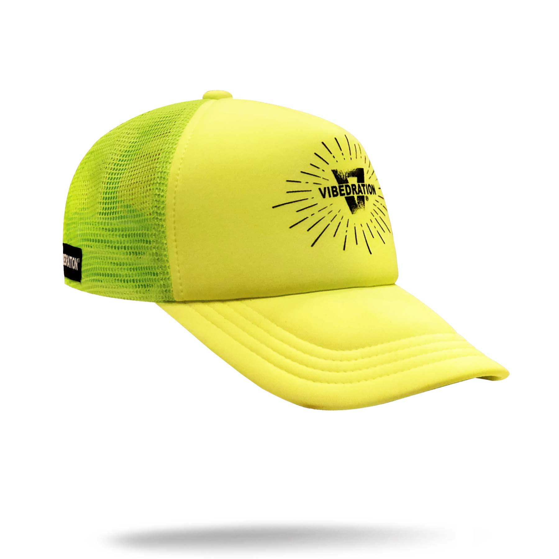Neon yellow Vibedration adjustable trucker hat
