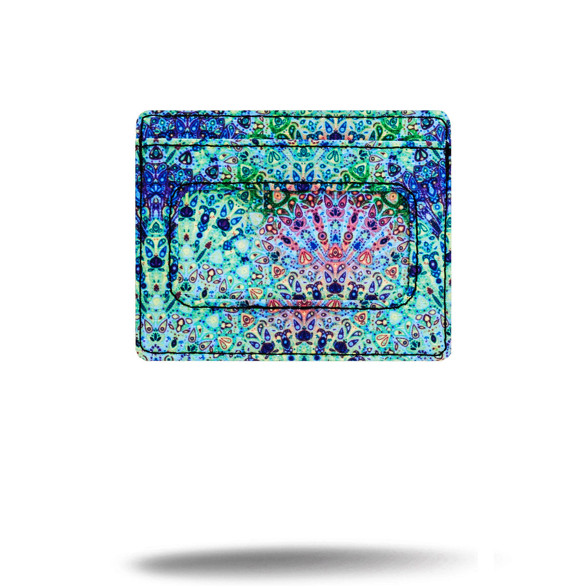 Blue and green Boho printed credit card holder