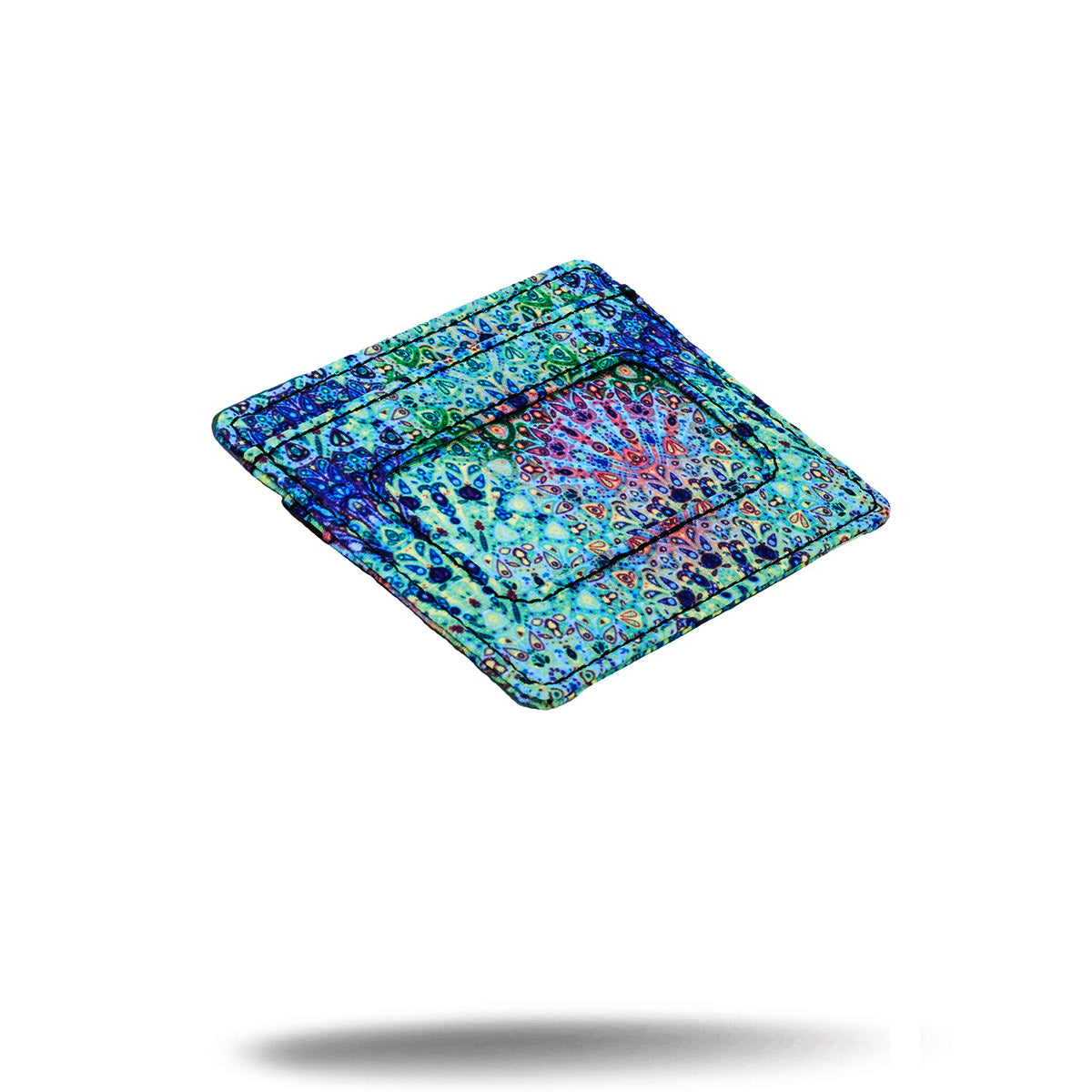 Green and blue bohemian printed credit card money holder