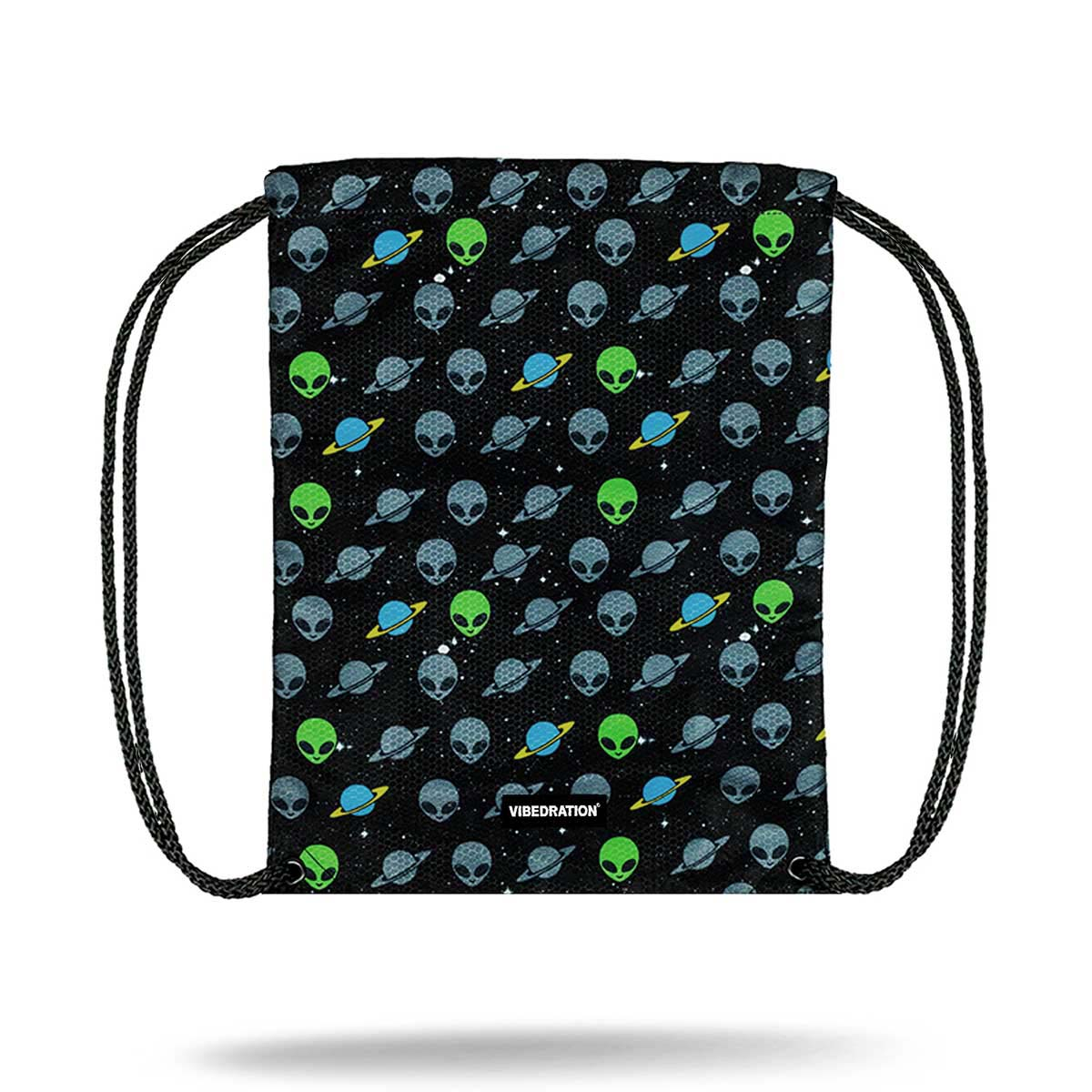 Alien Printed Drawstring Bag