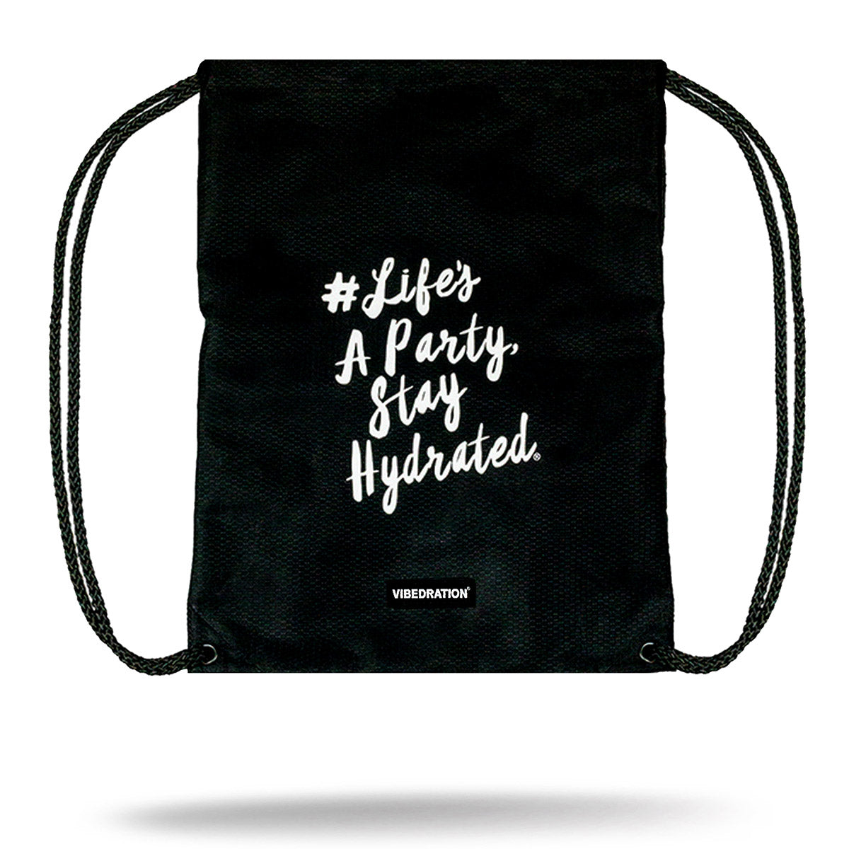 Black Drawstring Bag for Festivals