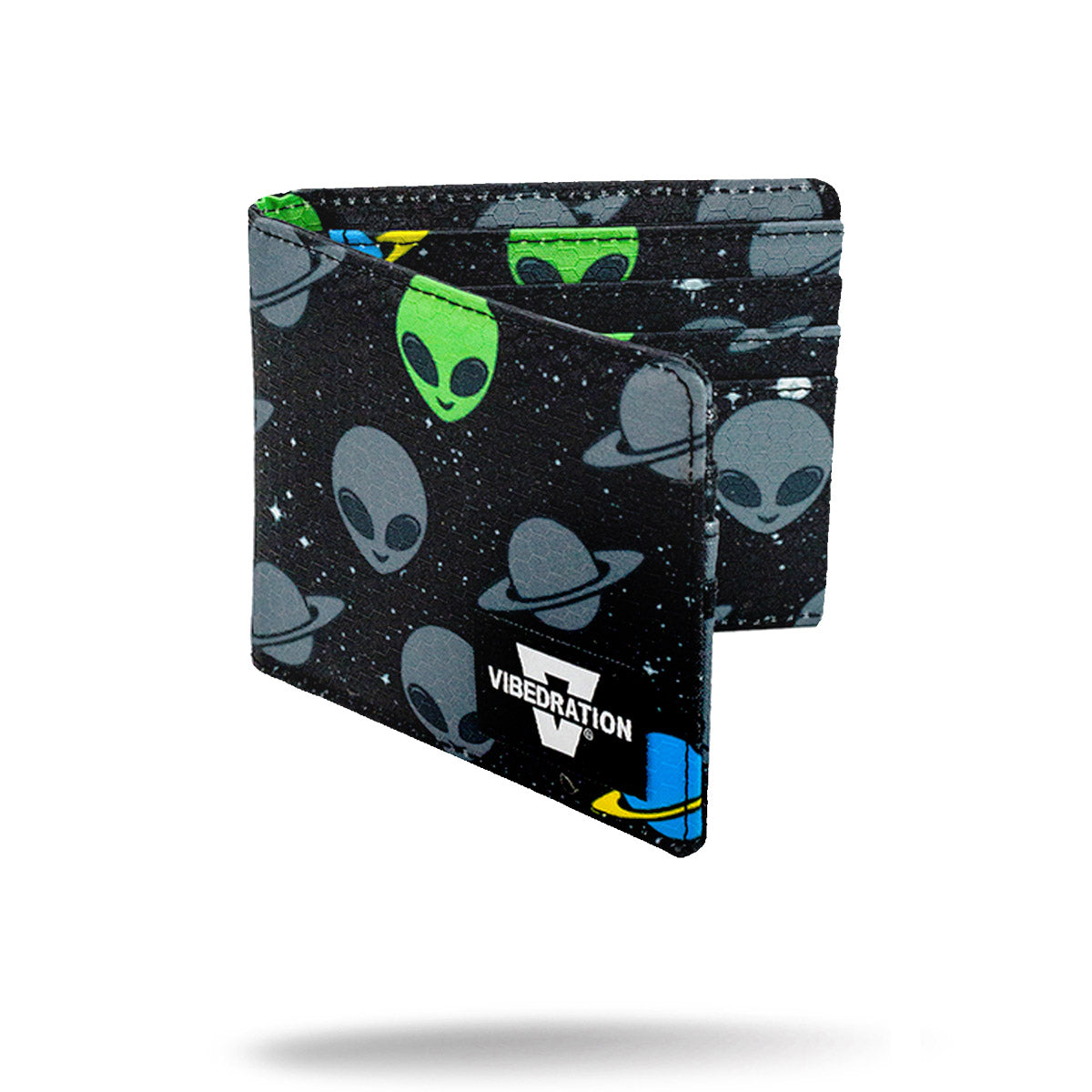 Black alien printed folding wallet