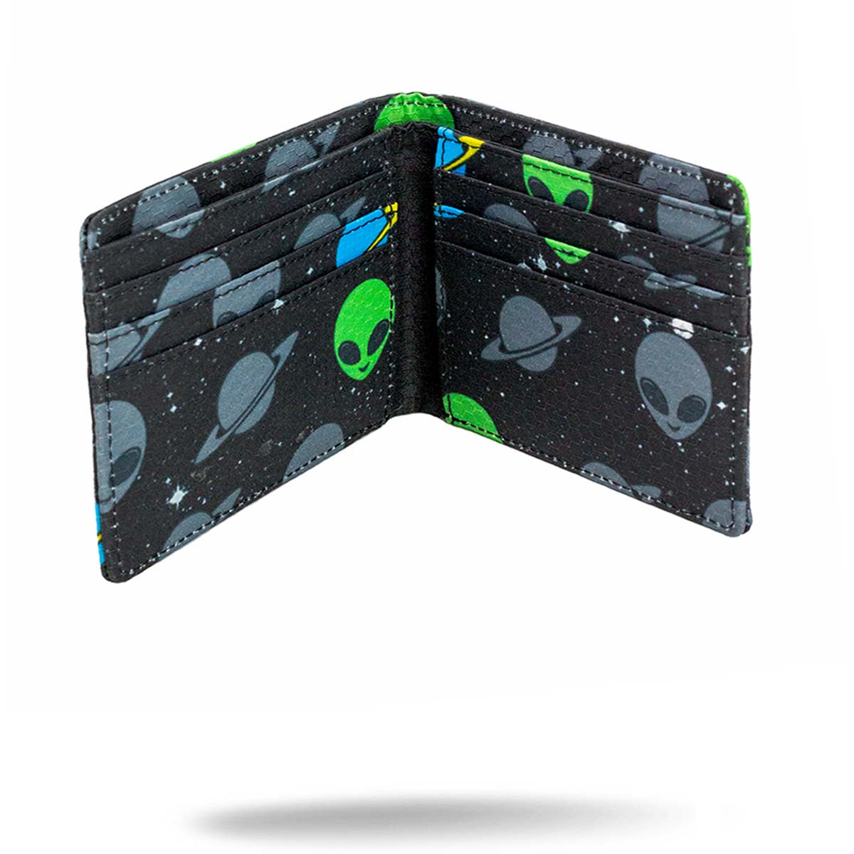 Inside view of black printed alien wallet