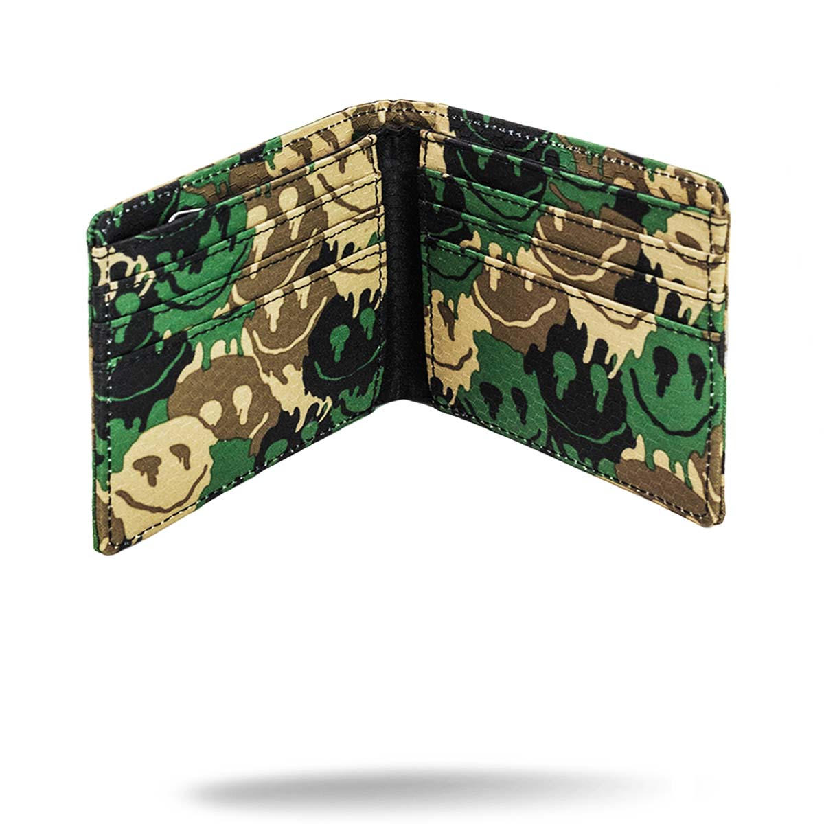 Inside view of camo printed unisex wallet