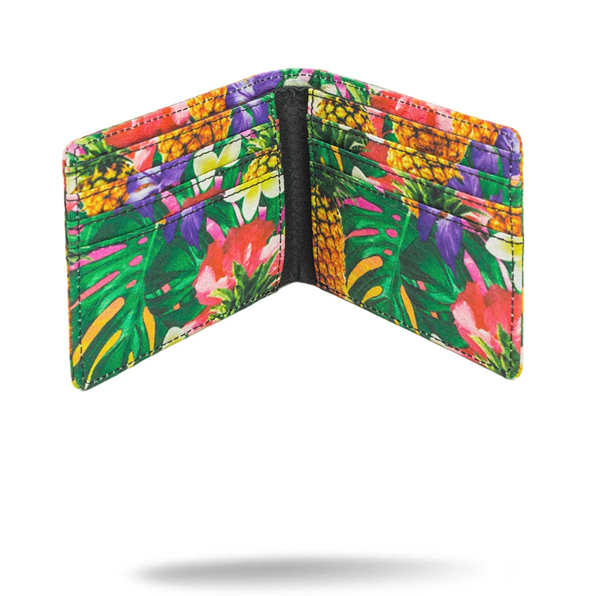 Inside view of Hawaiian printed folding wallet