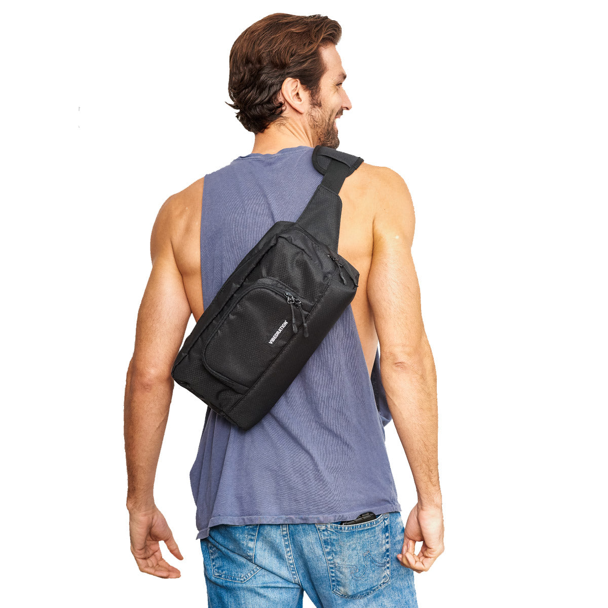 Mens Black Hex Crossbody bag