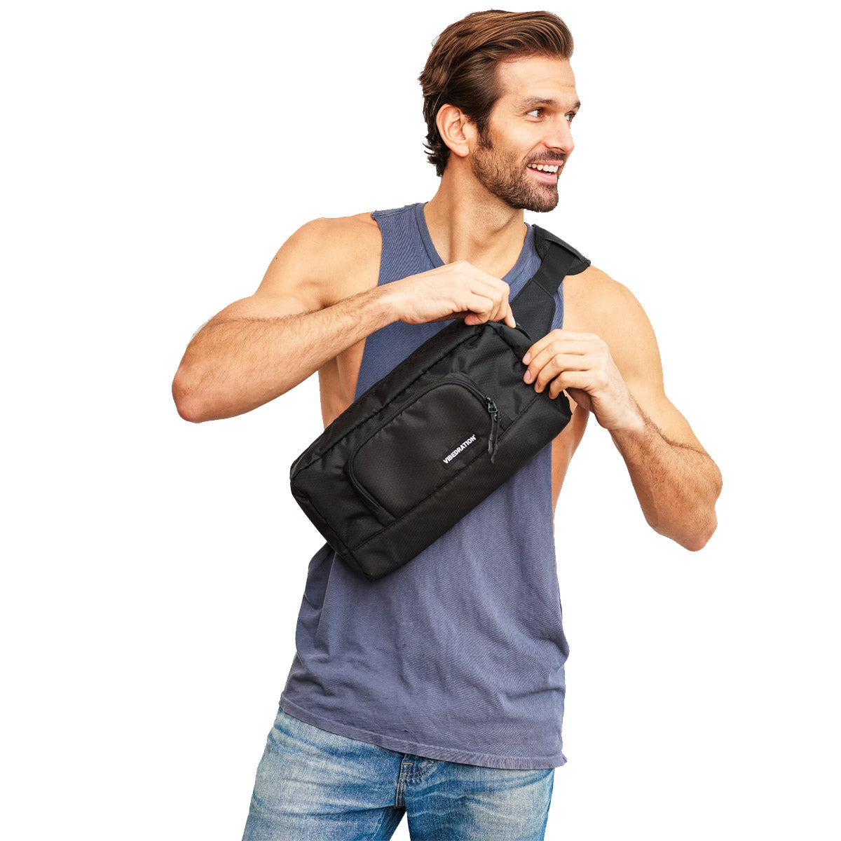 Mens black hex crossbody 1.5L bag