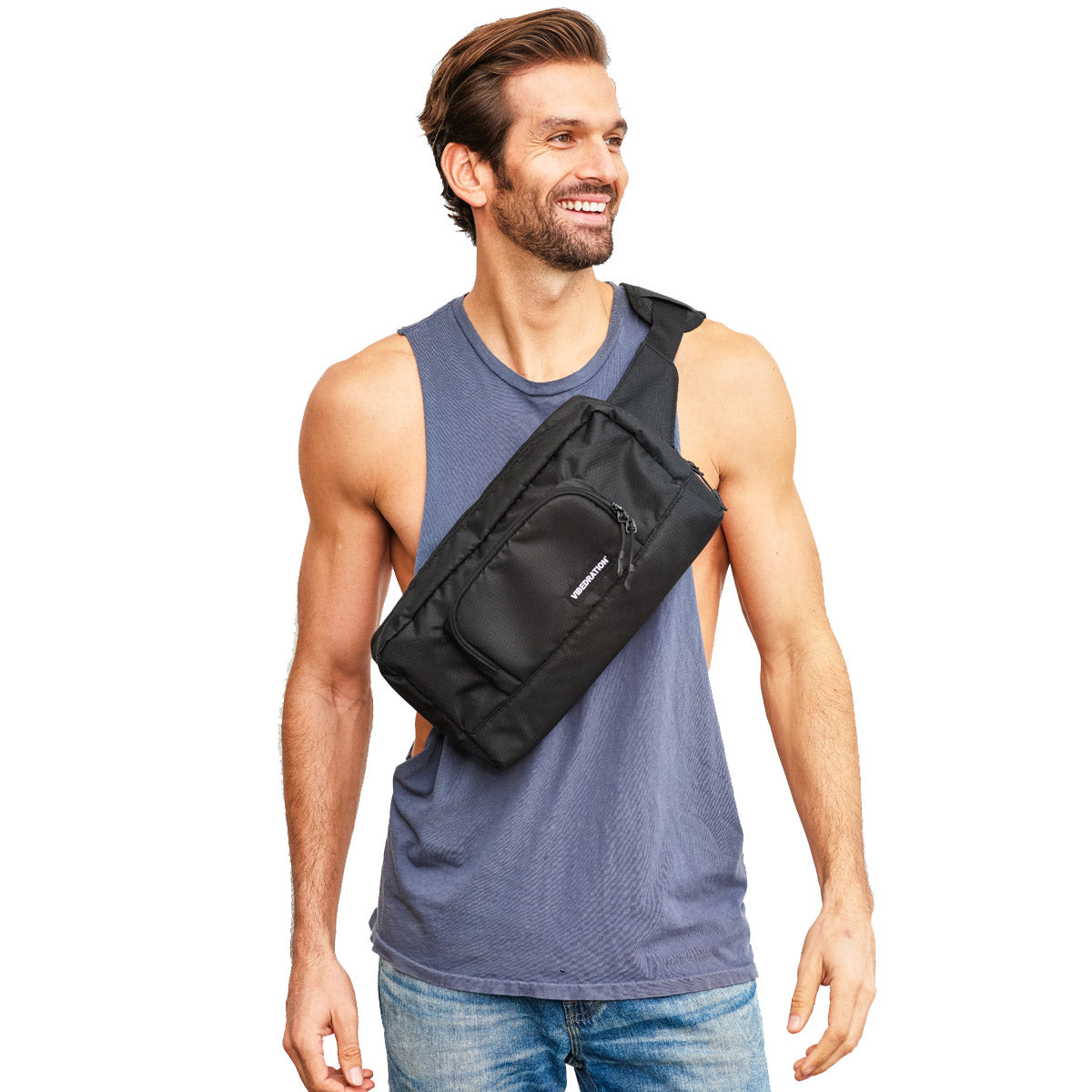 Crossbody 1.5L festival Black hex  bag for men
