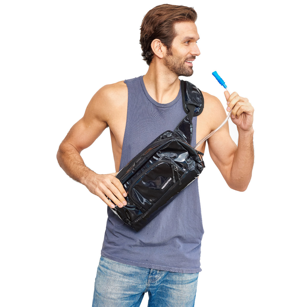 Black hydration crossbody bag for men