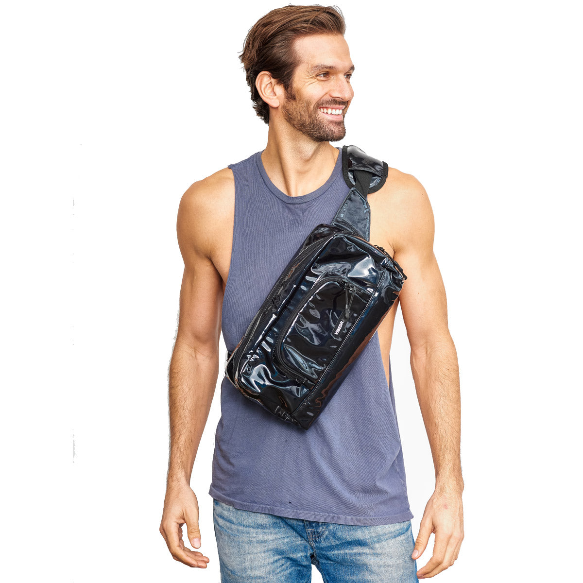 Mens Black Crossbody Bag 1.5 L